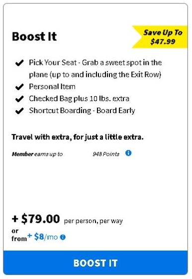 Spirit Airlines Boost It Combo