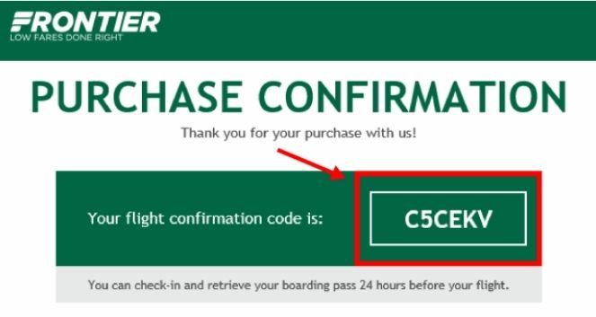 flight confirmation number